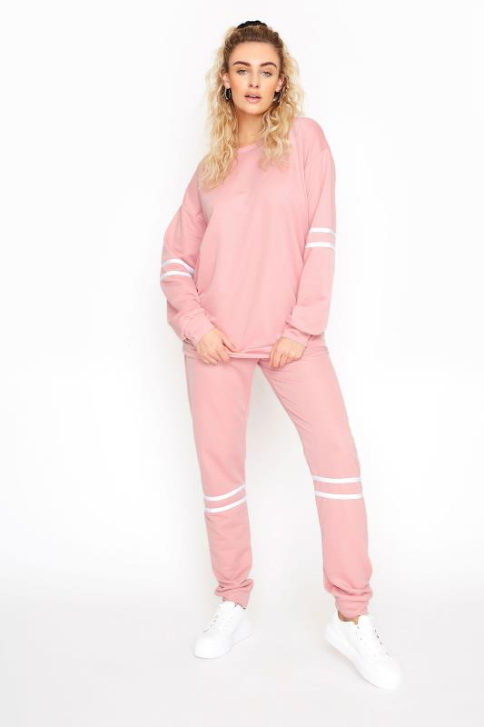 LTS Pink Varsity Stripe Co-ord Joggers