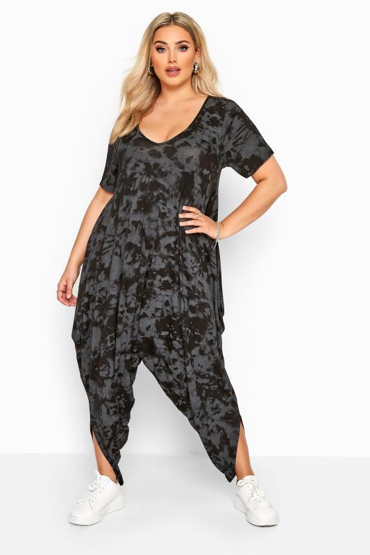 Plus Size Jumpsuits Black & Grey Tie Dye Short Sleeve Harem Jersey Jumpsuit