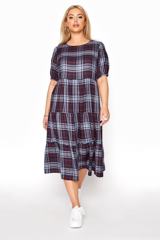 Plus Size  Navy Plaid Puff Sleeve Smock Midaxi dress
