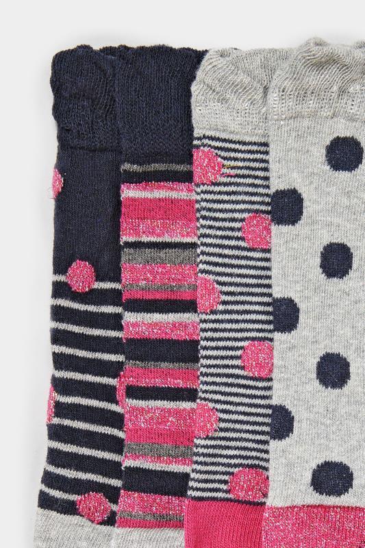 4 PACK Navy Spot & Stripe Socks