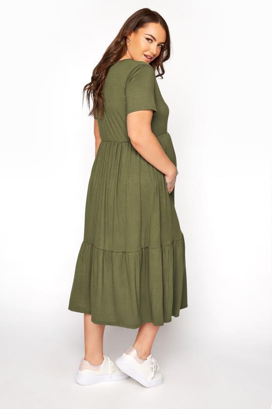 BUMP IT UP MATERNITY Khaki V-Neck Tiered Midi Dress_C.jpg