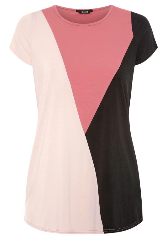 LIMITED COLLECTION Pink Colour Block T-Shirt_F.jpg