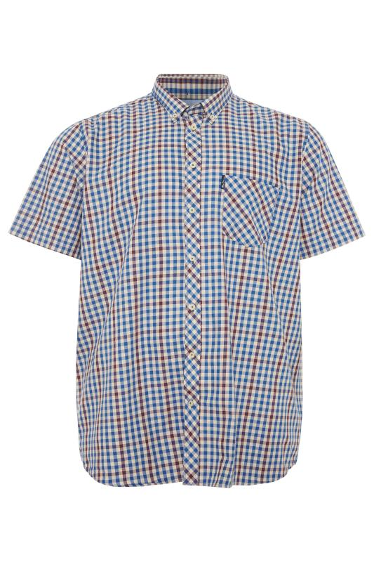 Plus Size  BEN SHERMAN Blue Check Short Sleeve Shirt