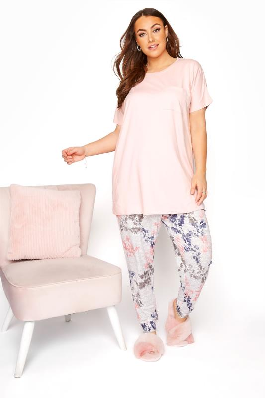 Plus Size  Pink Pocket Floral Lounge Set