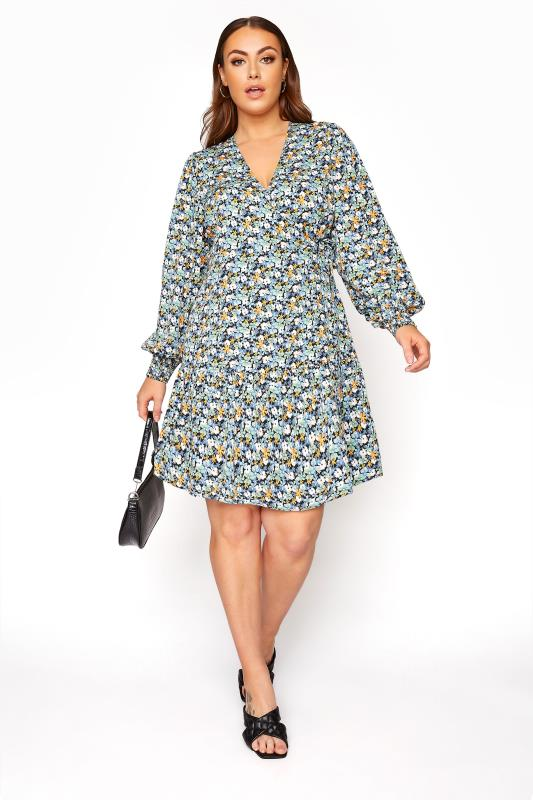 Plus Size  LIMITED COLLECTION Blue Floral Wrap Mini Dress