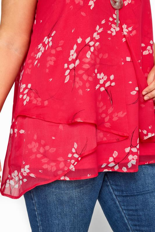 YOURS LONDON Pink Floral Layered Chiffon Top