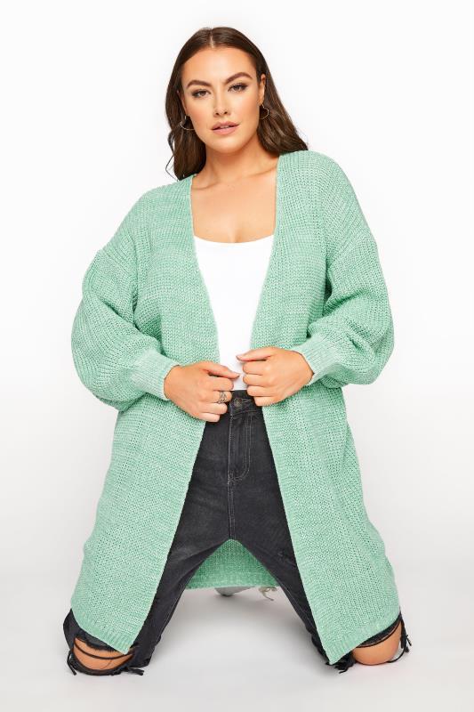 Plus Size  Green Balloon Sleeve Cardigan
