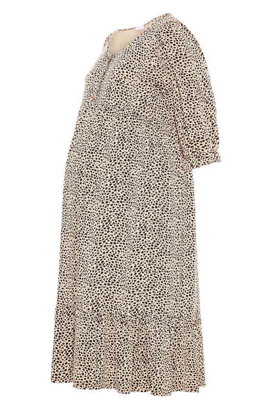 BUMP IT UP MATERNITY Beige Dalmatian Print Midaxi Dress_F.jpg