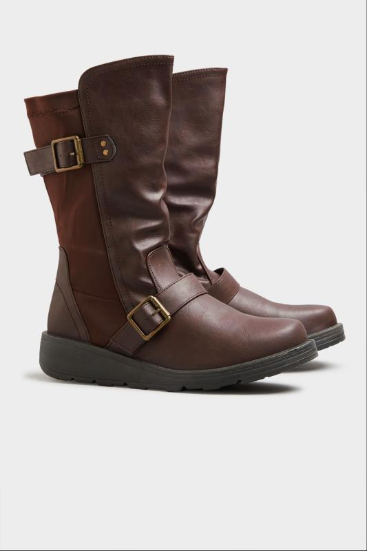 Brown Faux Leather Wedge Buckle Boots In Extra Wide Fit_B.jpg