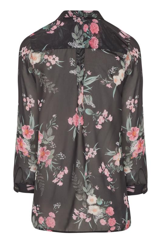 LTS Black Mixed Floral Longline Chiffon Shirt_BK.jpg