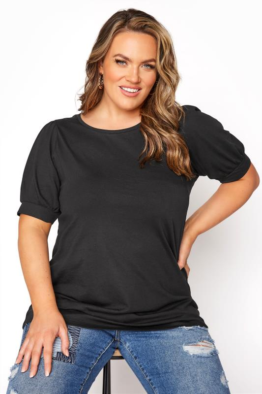 Plus Size  Black Puff Sleeve T-Shirt