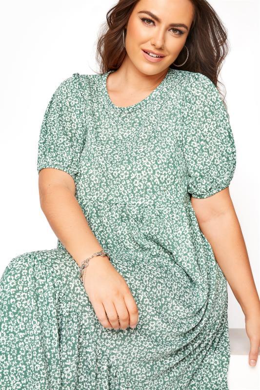 Sage Green Floral Frill Hem Midi Dress_D.jpg