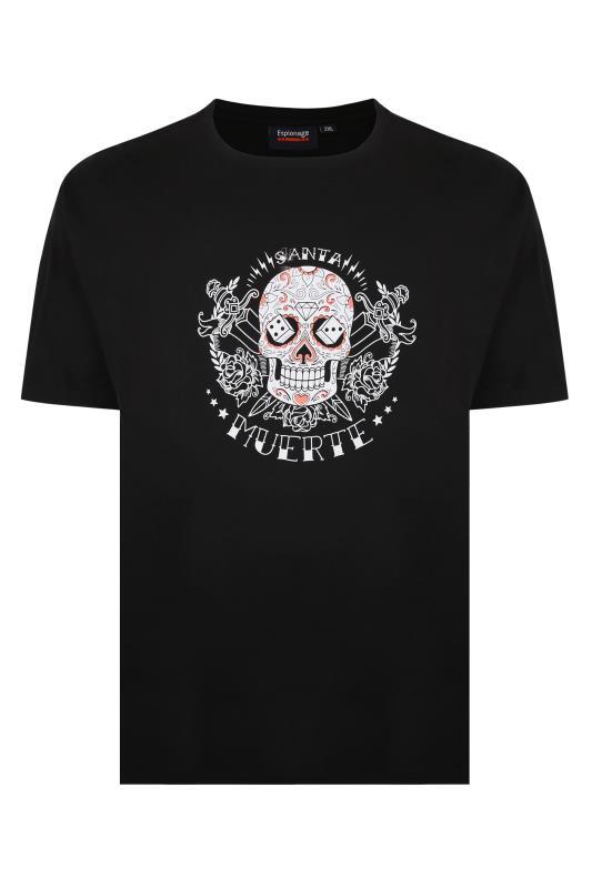 Großen Größen  ESPIONAGE Black 'Muerte' Skull Graphic T-Shirt