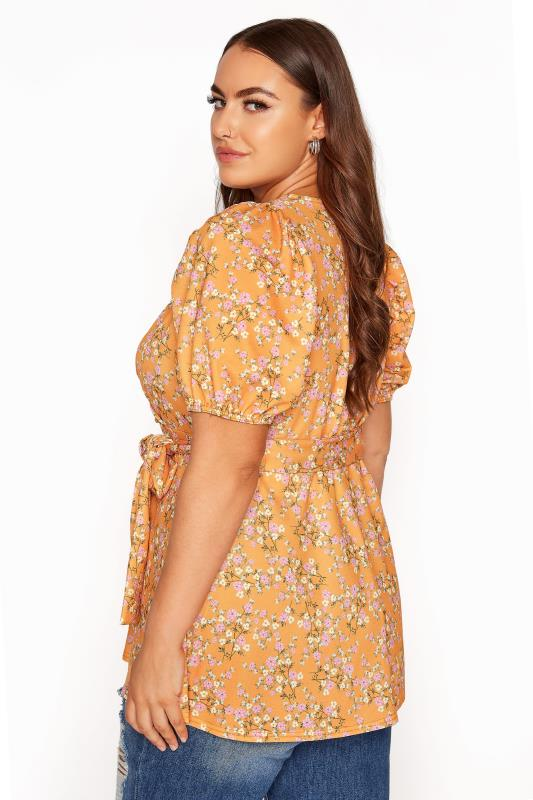YOURS LONDON Orange Ditsy Floral Puff Sleeve Wrap Top_C.jpg