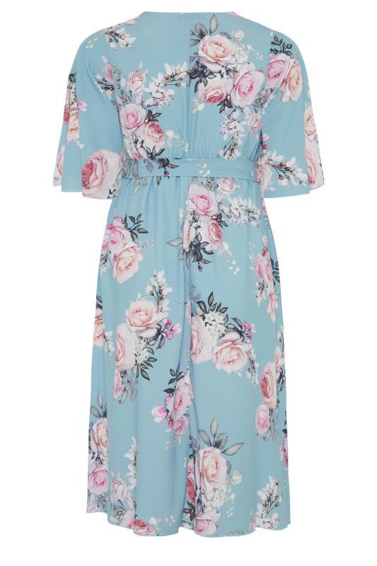 YOURS LONDON Blue Floral Wrap Midi Dress_BK.jpg