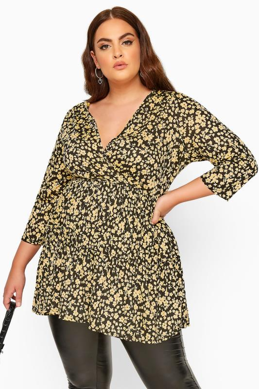 Plus Size Wrap Tops LIMITED COLLECTION Black & Yellow Ditsy Floral Wrap Tiered Smock Top