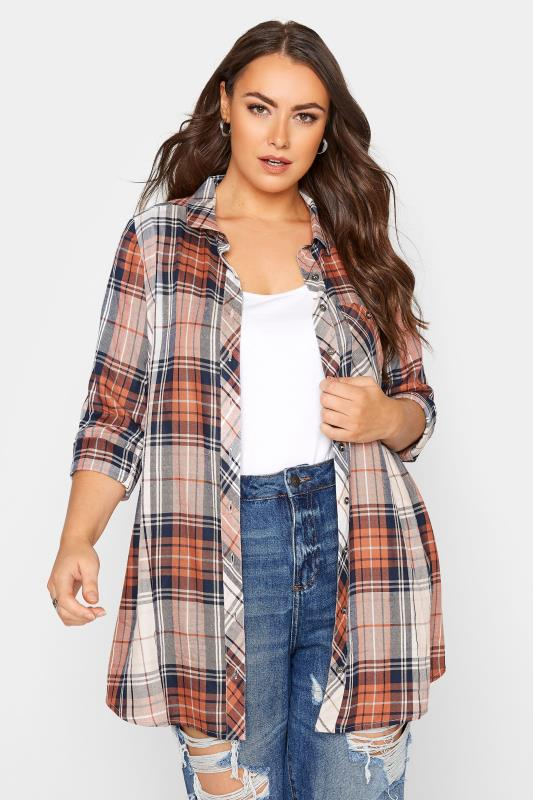 Plus Size  Rust Check Boyfriend Shirt