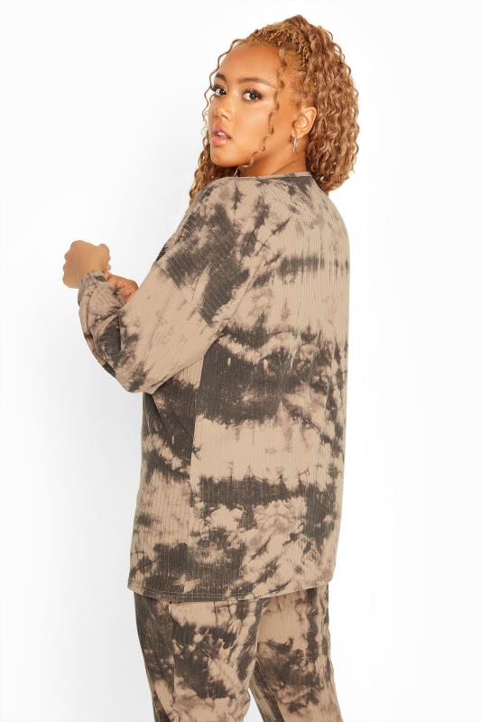 Plus Size  Stone Tie Dye Ribbed Co-ord Lounge Top