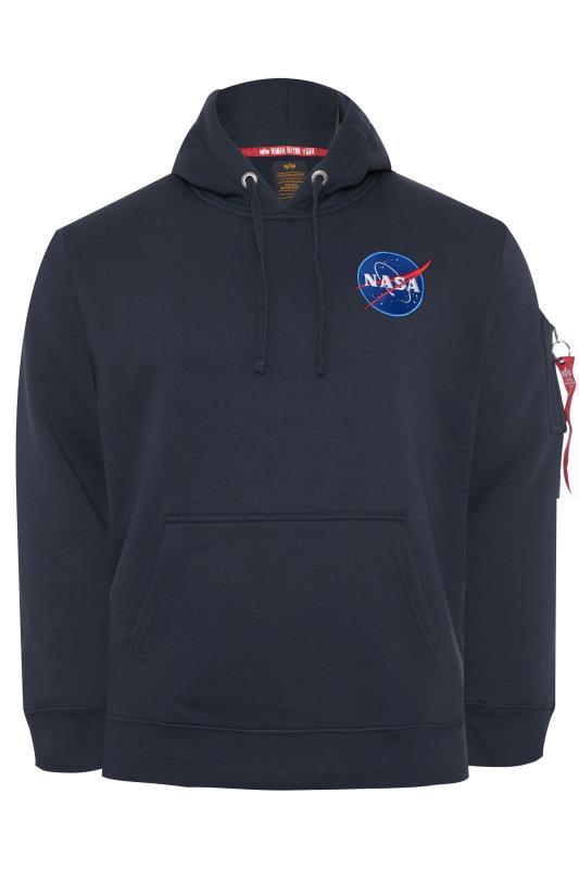 Plus Size Hoodies ALPHA INDUSTRIES Navy NASA Space Shuttle Hoodie