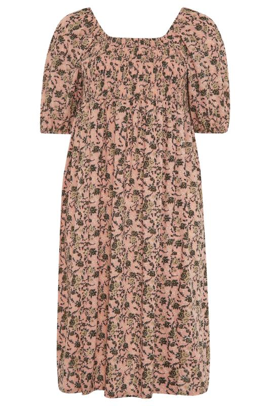 Pink Floral Shirred Front Split Hem Midi Dress_F.jpg