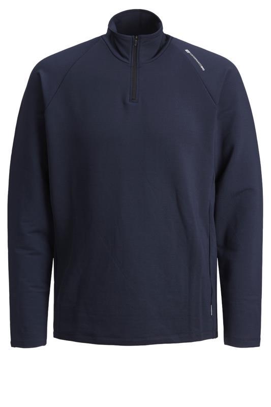 JACK & JONES Navy Performance Quarter Zip Sweatshirt