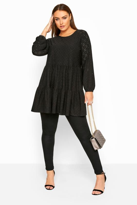 Black Balloon Sleeve Broderie Anglaise Tiered Smock Tunic