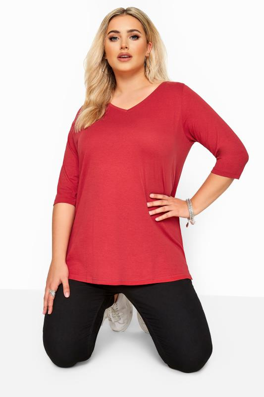 Plus Size Basic T-Shirts & Vests Red V-Neck Cotton Top
