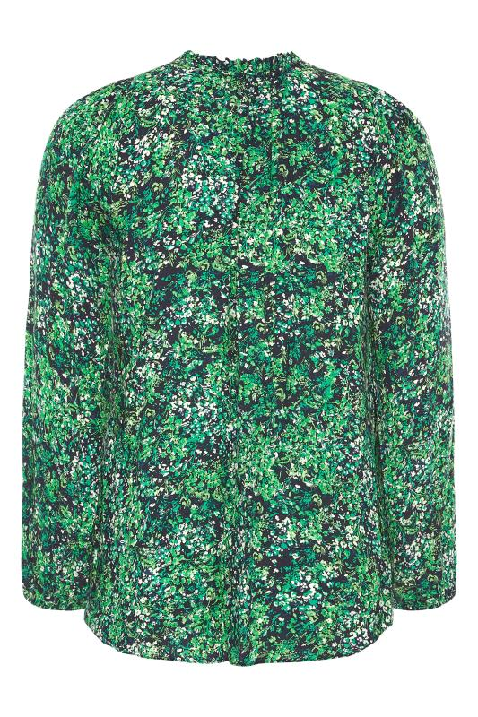 YOURS LONDON Green Floral Tie Frill Neck Blouse_BK.jpg