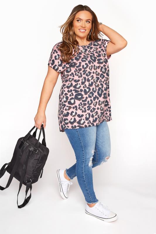 Pink Leopard Print Grown On T-Shirt