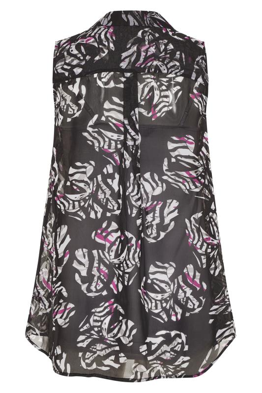 Black and White Floral Print Frill Front Sleeveless Shirt_BK.jpg