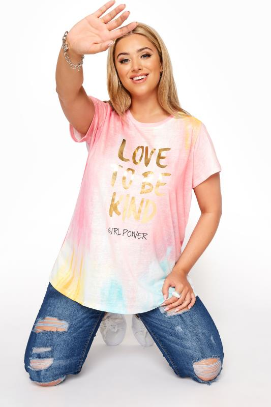 Plus Size  Pink 'Love To Be Kind' Slogan T-Shirt