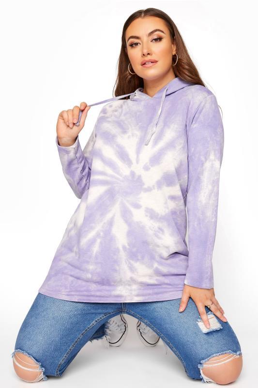 Plus Size  Purple True Tie Dye Hoodie