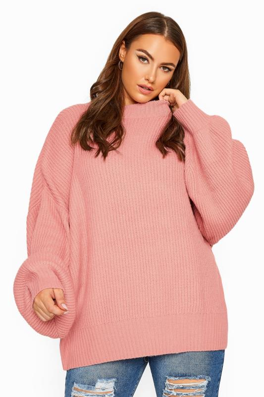 Plus Size Jumpers Pink Oversized Chunky Knitted Jumper