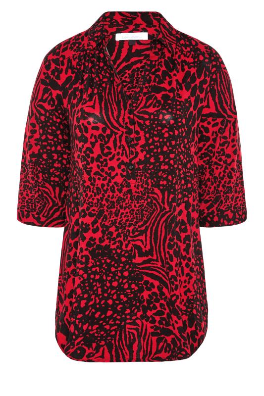 YOURS LONDON Red Animal Print Button Blouse_F.jpg