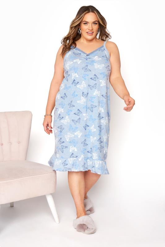 Plus Size  Summer Blue Butterfly Chemise Dress