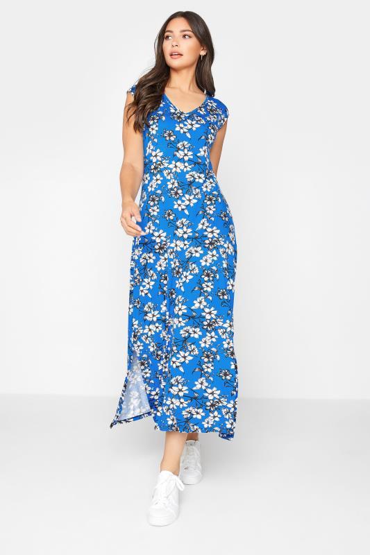 LTS Blue Floral Print V-Neck Midi Dress_A.jpg