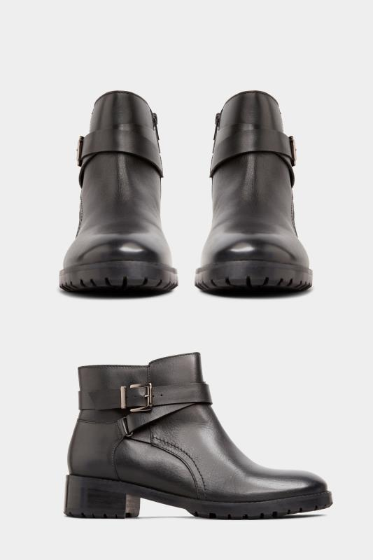 Black Leather Buckle Ankle Boots In Extra Wide Fit