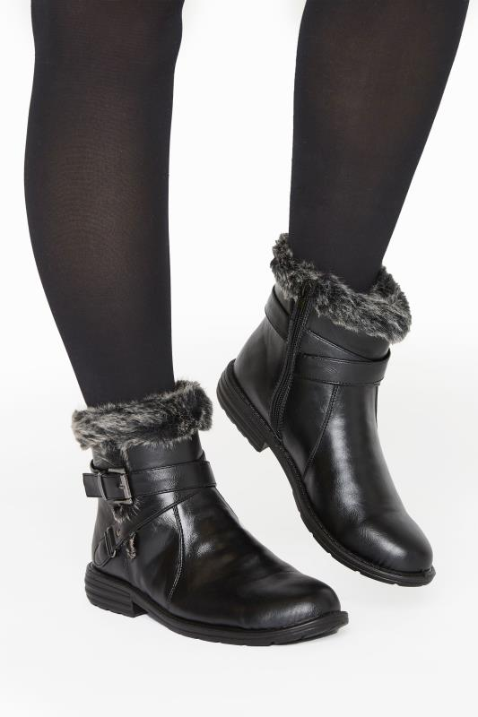 Yours Black Vegan Faux Leather Buckle Ankle Boots In Wide Fit