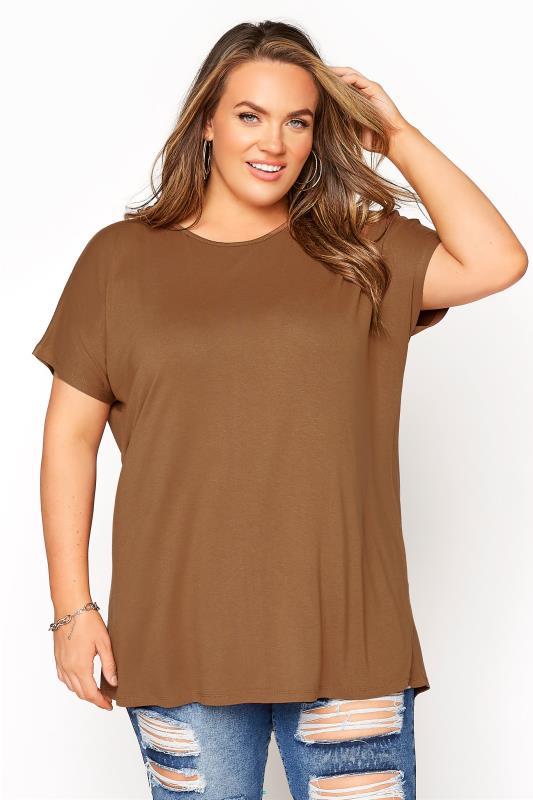 Plus Size  Mocha Dipped Hem Short Sleeved T-Shirt