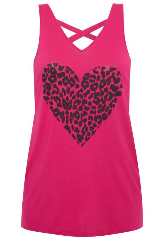 Pink Leopard Heart Cross Back Vest Top