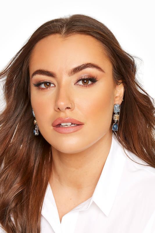 Plus Size  Silver Stone Drop Earrings