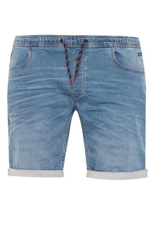 BLEND Navy Elasticated Denim Shorts_F.jpg