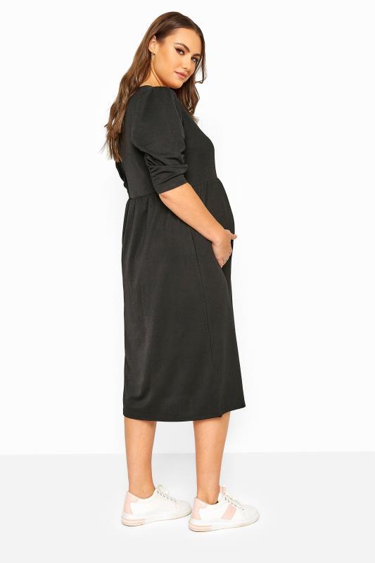 BUMP IT UP MATERNITY Black Jersey Smock Midi Dress_C.jpg