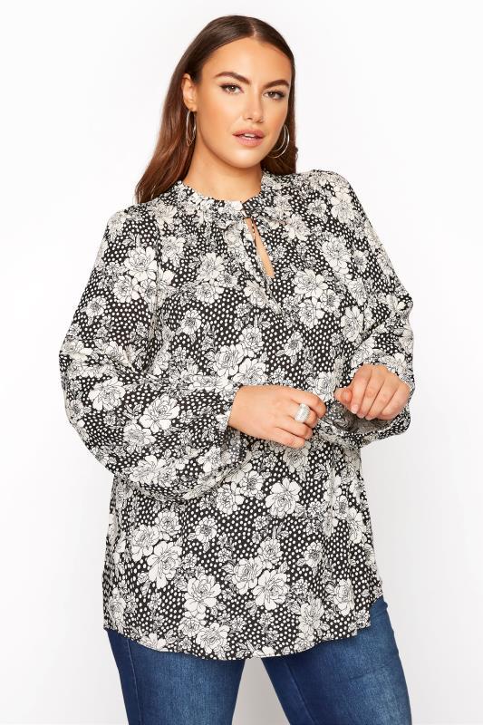 Plus Size  YOURS LONDON Black Floral Tie Frill Neck Blouse
