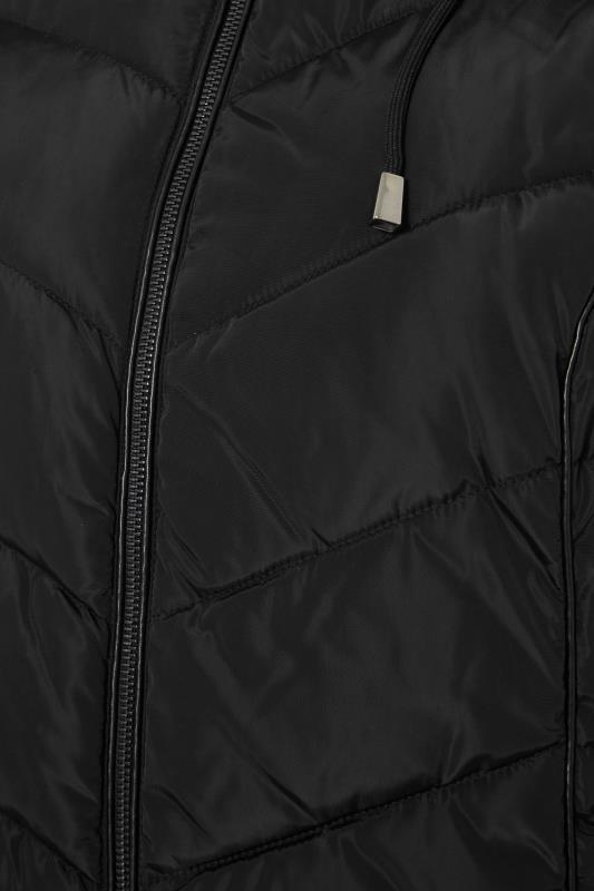 Black PU Faux Fur Trim Panelled Puffer Jacket_S.jpg