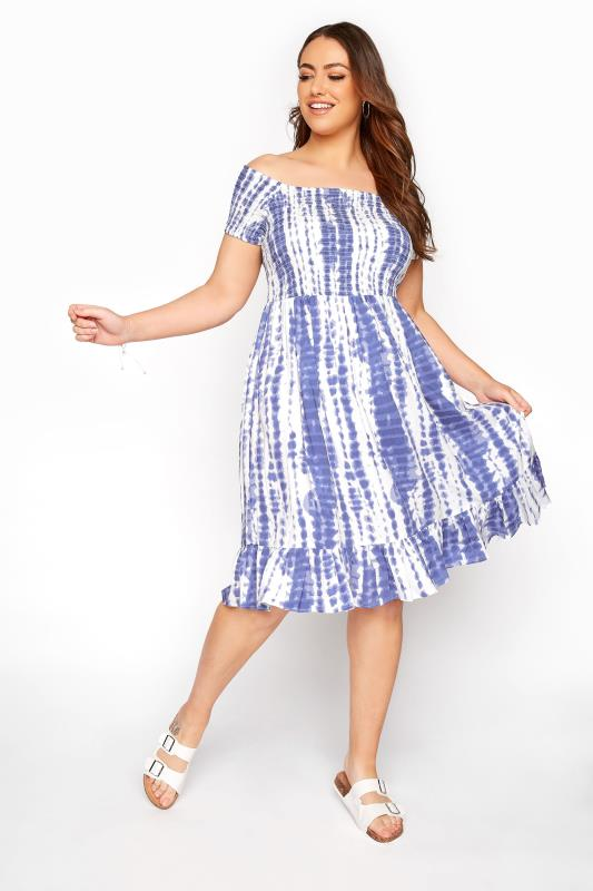 Plus Size  White Tie Dye Shirred Bardot Dress