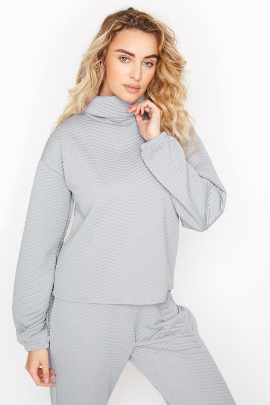 LTS Grey Chevron Quilted Co-ord Sweatshirt
