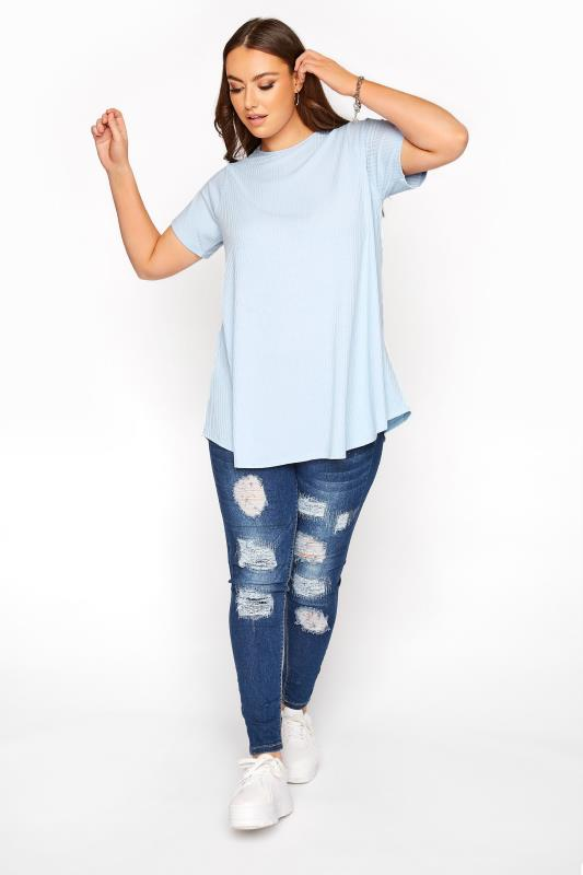 LIMITED COLLECTION Baby Blue Ribbed Swing T-Shirt