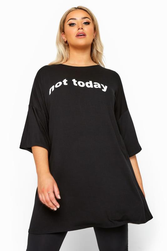 Black Oversized 'Not Today' Slogan Top