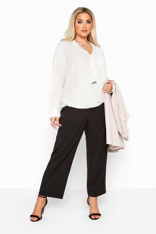 Ivory Tie Neck Wrap Blouse